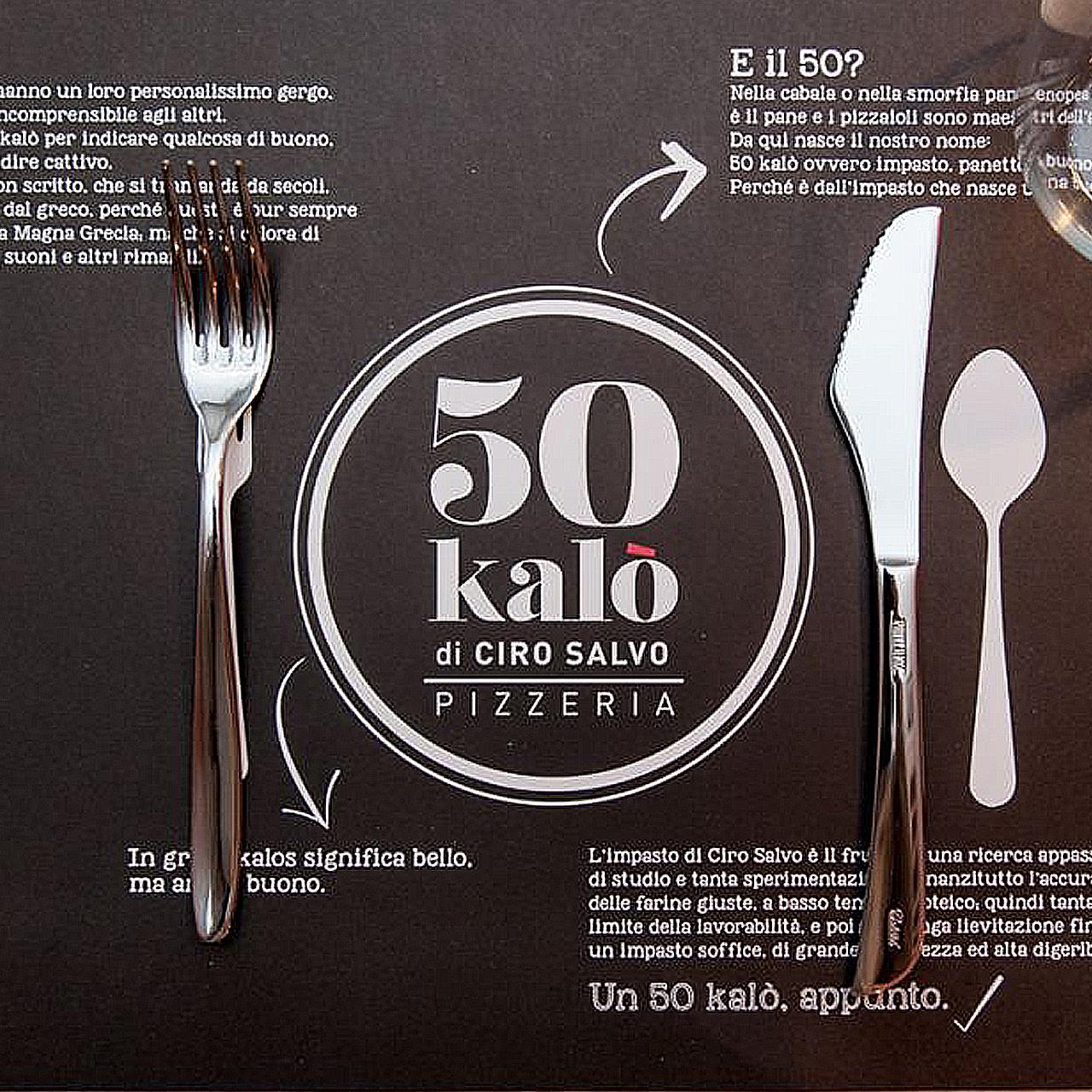 Comunicazione punto vendita 50 Kalò di Ciro Salvo - Web agency Napoli - Libellula Grafica Lab