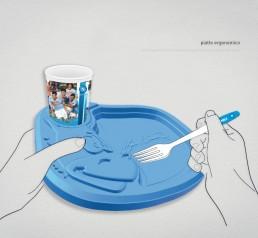 SCC CALCIO NAPOLI piatto con bicchiere - Libellula Grafica Lab Agency