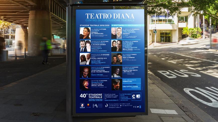 Teatro Diana - Banner pubblicitario - Agenzia di comunicazione Napoli - Libellula Grafica Lab