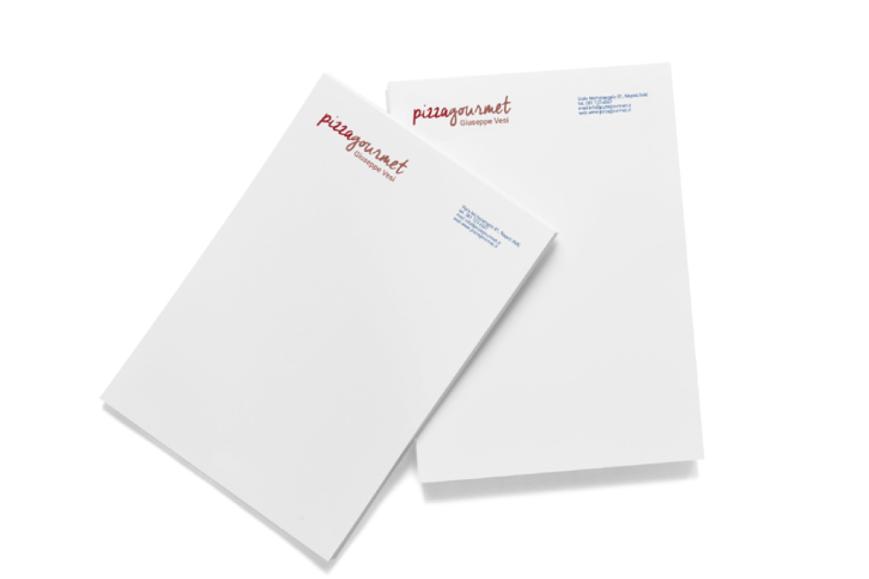 Carta intestata Pizza Gourmet - Agenzia di comunicazione Napoli - Libellula Grafica Lab