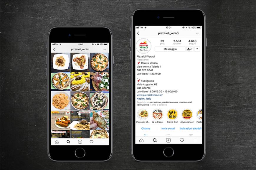Schermata mockup social network per locali food PIZZAIOLI VERACI NAPOLI
